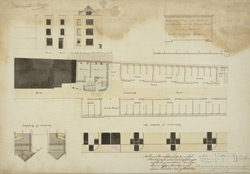 Plan, Elevations, and Sections for Rebuilding the Black Horse Livery Stables in Aldersgate Street.